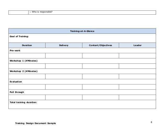 Training design document - Template 1