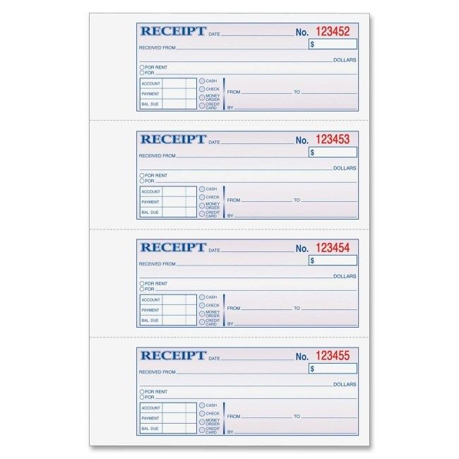 Adams DC1182 Money/Rent Receipt Book 200 Sheet(s) - Tape Bound - 2 ...