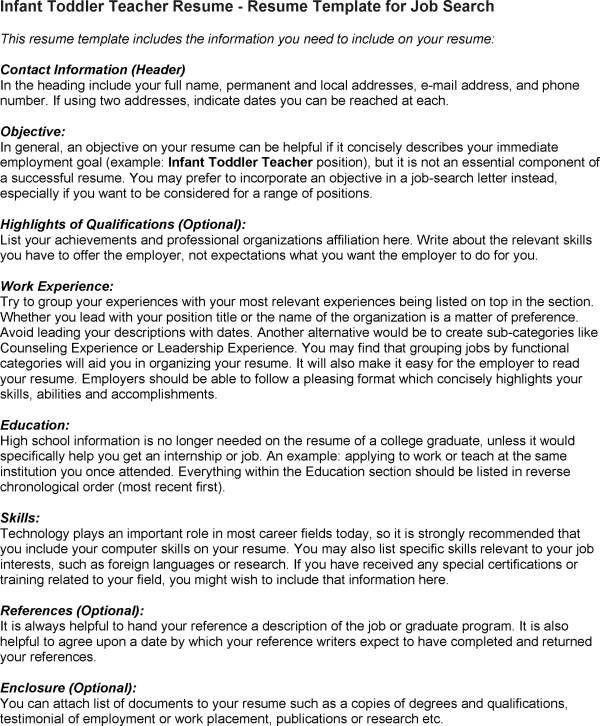 Example Resume For Infant Teacher - Templates