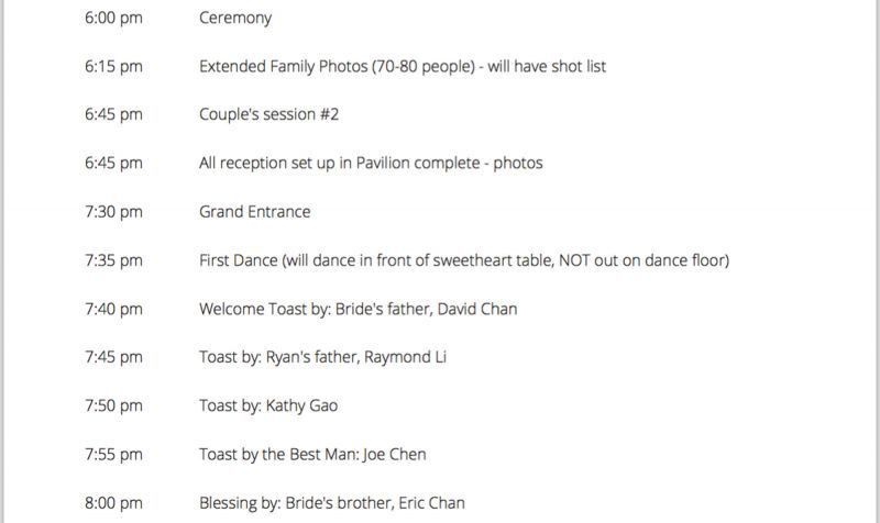 Sample Wedding Timeline. Here'S A Sample Of The Wedding Day ...