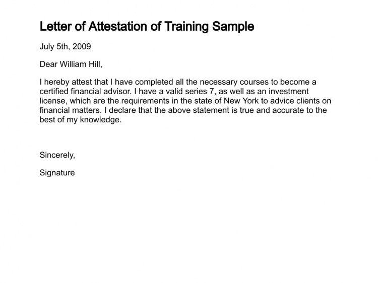 Letter of Attestation - Sample Letter of Attestation