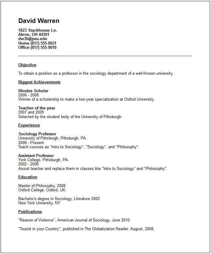 Academic Resume Example - Free templates collection