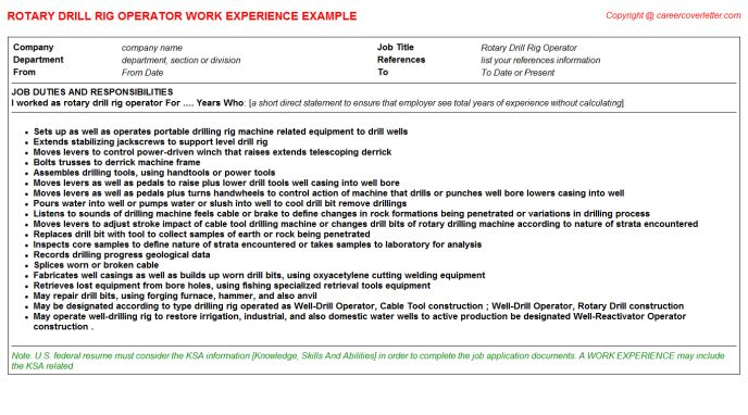 Work Over Rig Operator CV Work Experience Samples