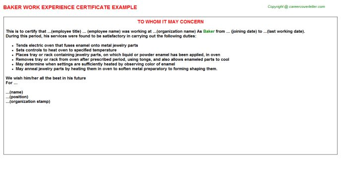 Baker Work Experience Certificate