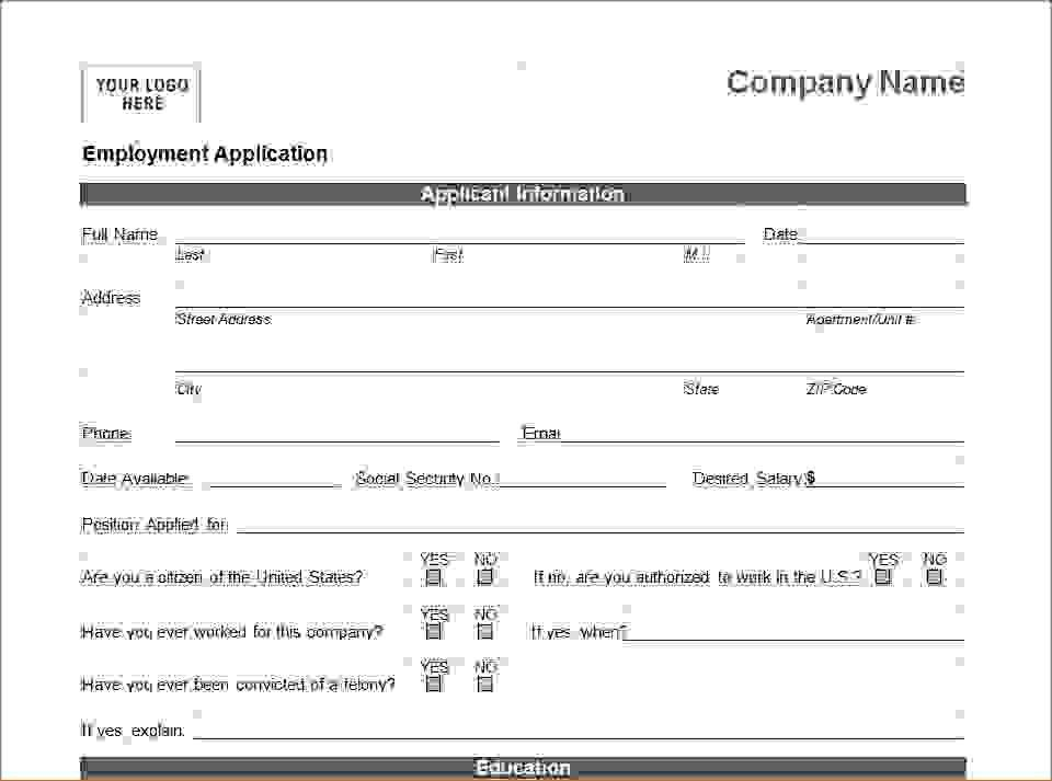 7 Printable Job Application TemplateAgenda Template Sample ...