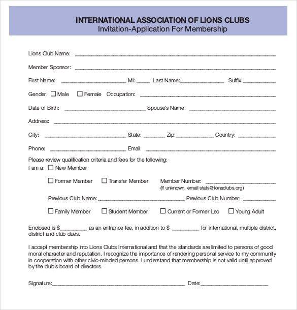 15+ Membership Application Templates – Free Sample, Example ...
