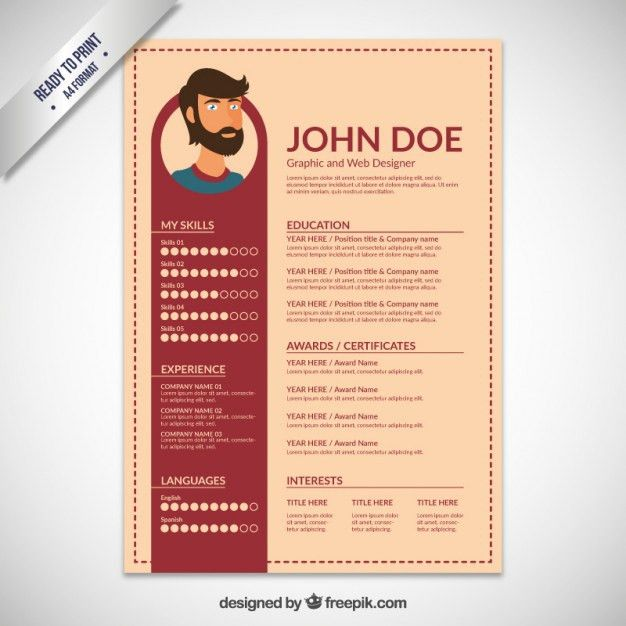 Resume template flat design Vector | Free Download