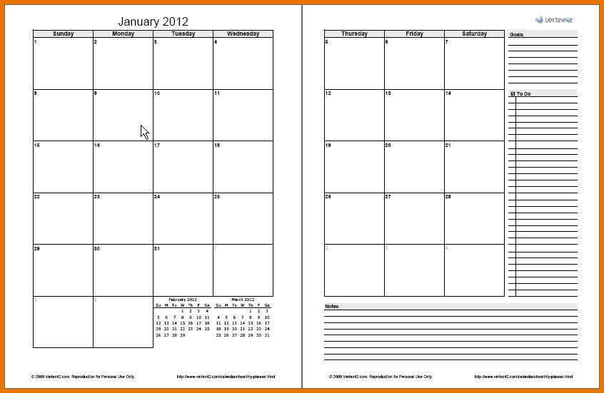 Calendar Planner Template.2 Page Monthly Planner.png | Scope Of ...