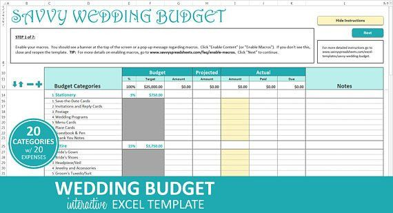 Savvy Wedding Budget Turquoise Excel Wedding Budget
