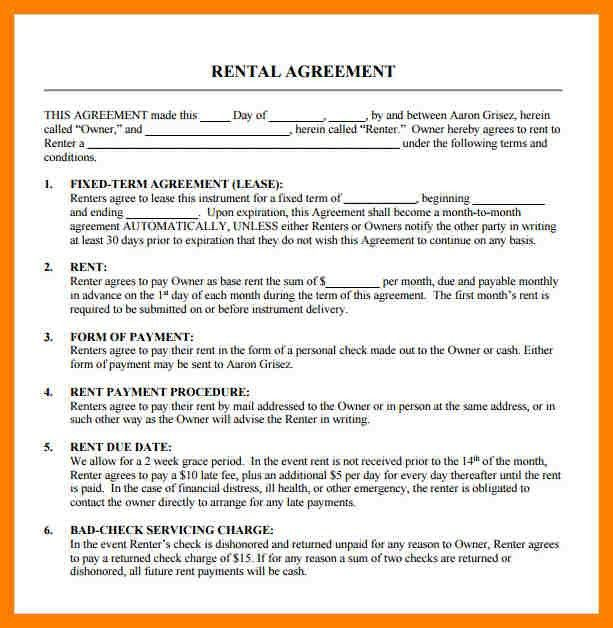 6+ free renters agreement | packaging clerks