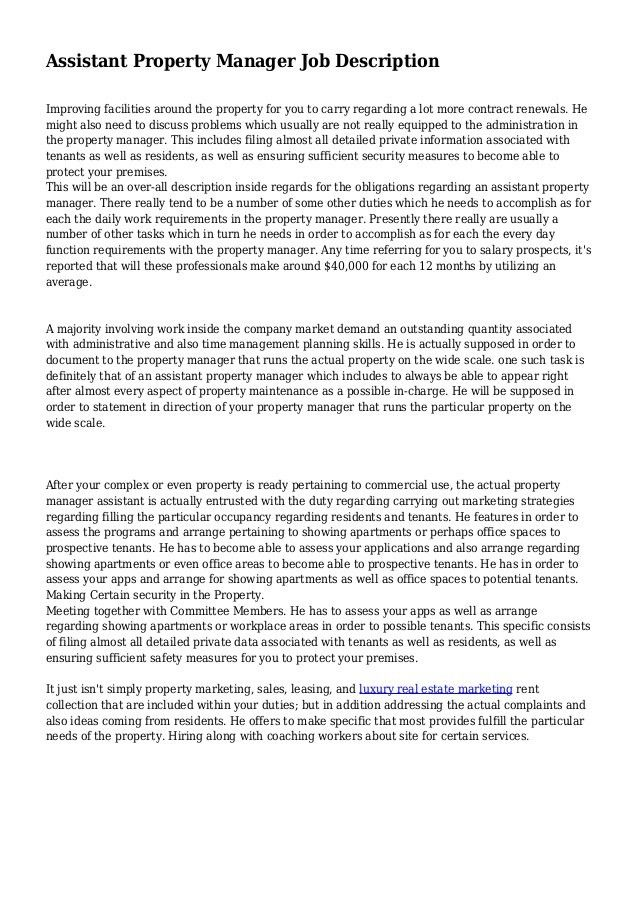 Property Manager Job Description. Property Manager Resume Example ...