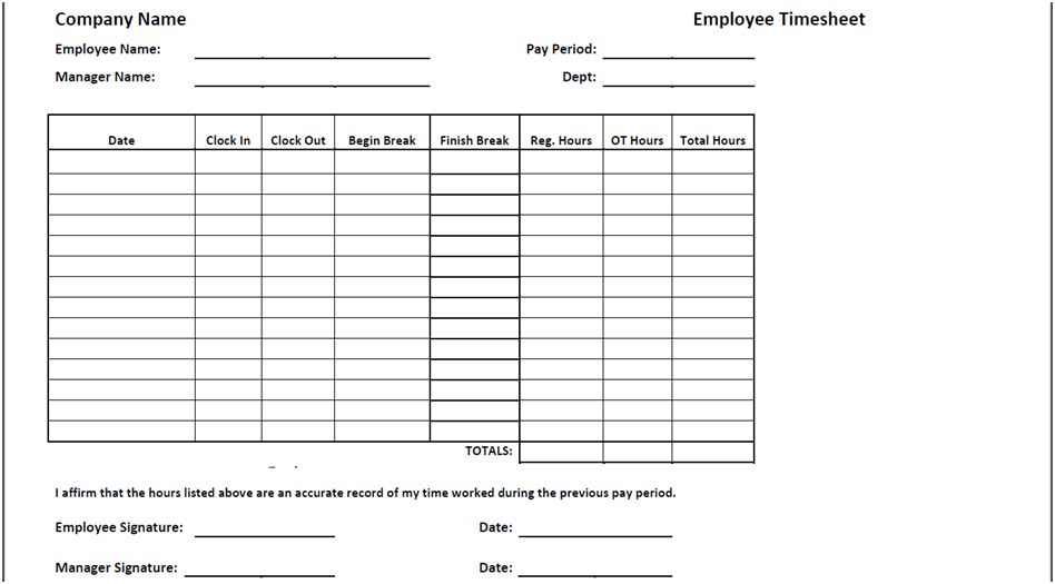 Timesheet Templates - Find Word Templates