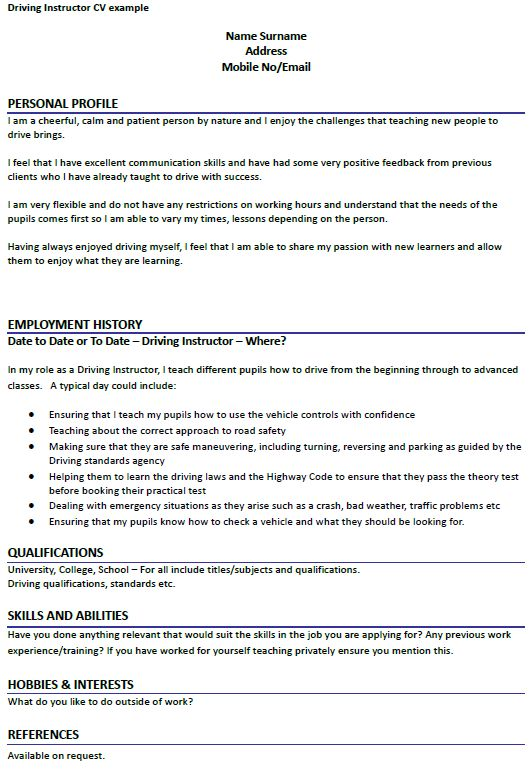 Driving Instructor CV Example - forums.learnist.org