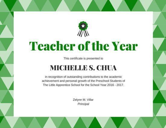 Teacher of the Year Award Certificate - Templates by Canva