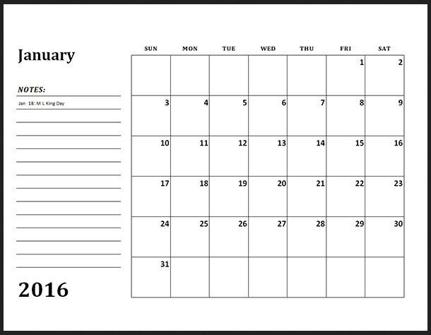 Monthly Calendar Template 2016 | Calendar Picture Templates