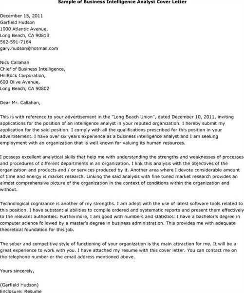Business Intelligence Analyst cover letter examples