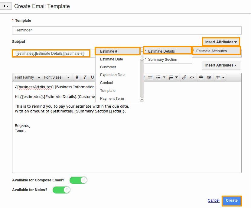 Message Template in Estimates App