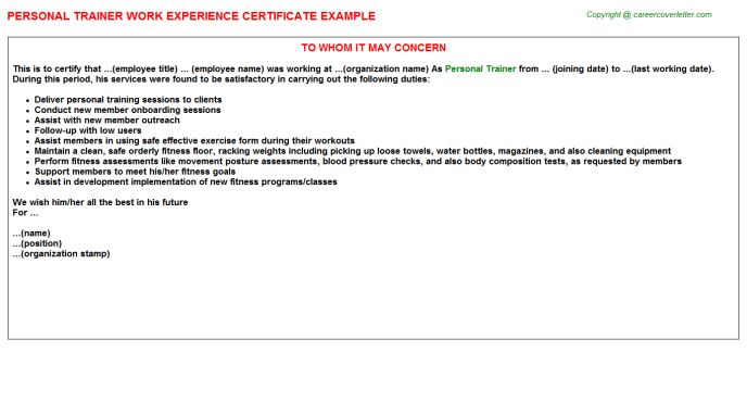 Personal Trainer Work Experience Certificate