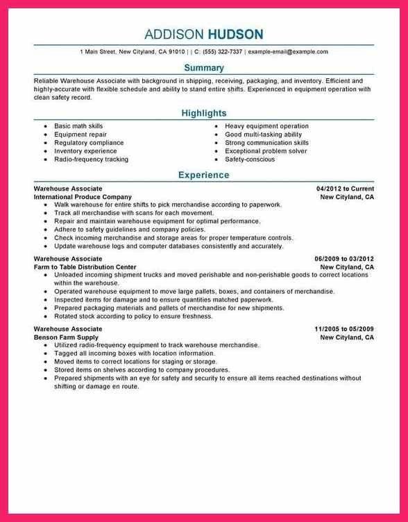 warehouse associate resume   bio letter format