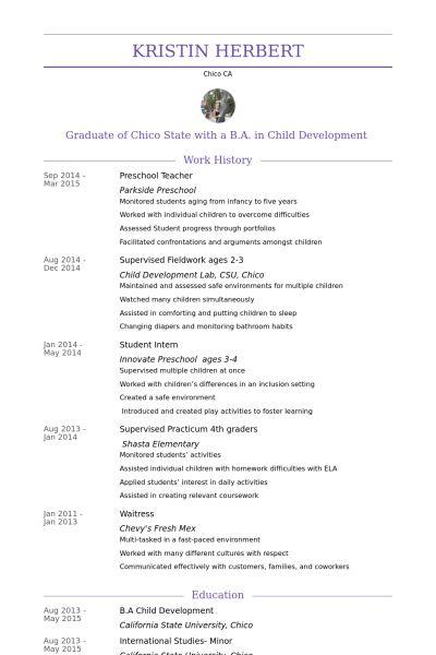 Preschool Teacher Resume samples - VisualCV resume samples database