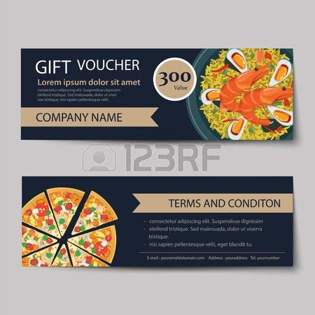 Set Of Food Voucher Discount Template Design Royalty Free Cliparts ...