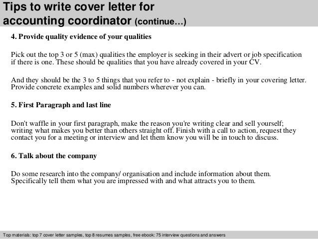 Accounting coordinator cover letter