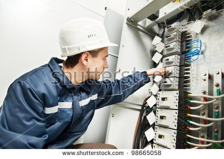 Electrician Builder Work Inspecting Cabling Connection Stock Photo ...