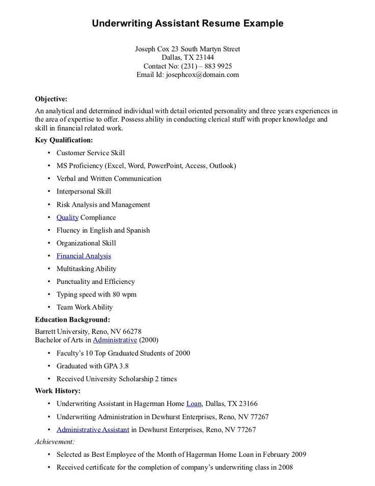 Underwriting Assistant Resume - Underwriting Assistant Resume we ...