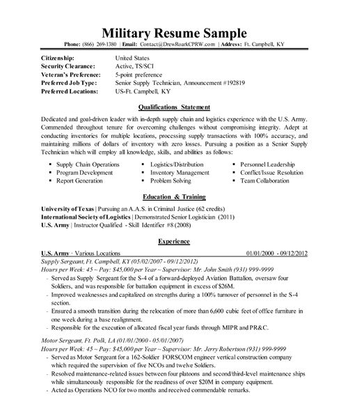 Impressive Inspiration Military Resume Template 3 Professional ...