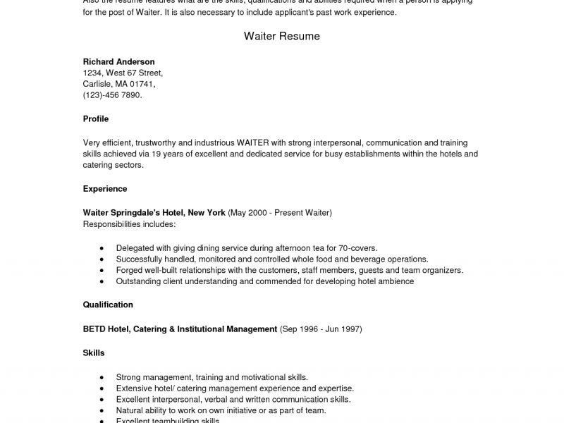 Cool Ideas Waiter Resume Sample 12 For Position Examples - CV ...