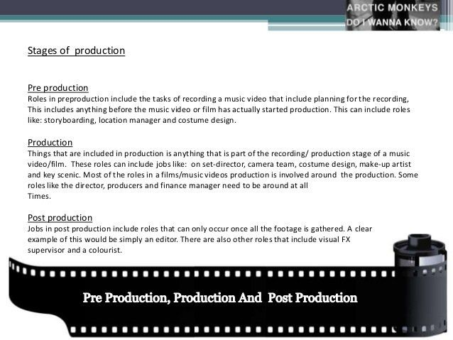 Pre production, production and post production roles within a music v…
