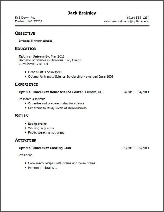 Resume Example For Jobs. Resume Examples For Jobs With Little ...