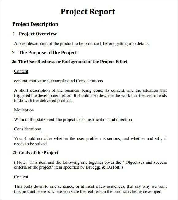 Sample Project Report Template - 5+ Documents in PDF