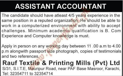 Private Jobs - Assistant Accountant Jobs in Karachi - PaperPk
