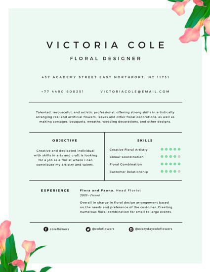 Charming Floral Designer Resume - Templates by Canva