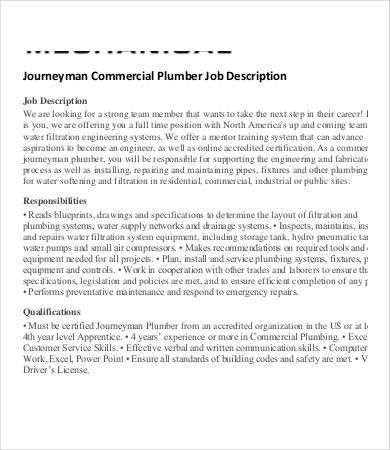 Plumber Job Description - 9+ Free PDF Format Download | Free ...