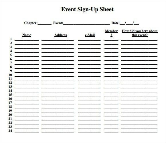 Event Sign In Sheet Template | Template Business
