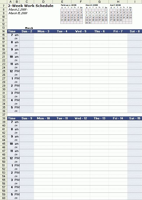 A free bi-weekly work schedule template for Excel, at http://www ...