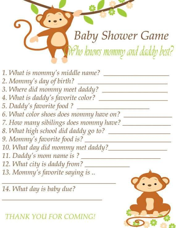 Template of Baby Shower Guessing Game and Guest List Printable ...
