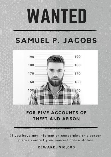 Gray Monochrome Mugshot Photo Criminal Wanted Poster - Templates ...