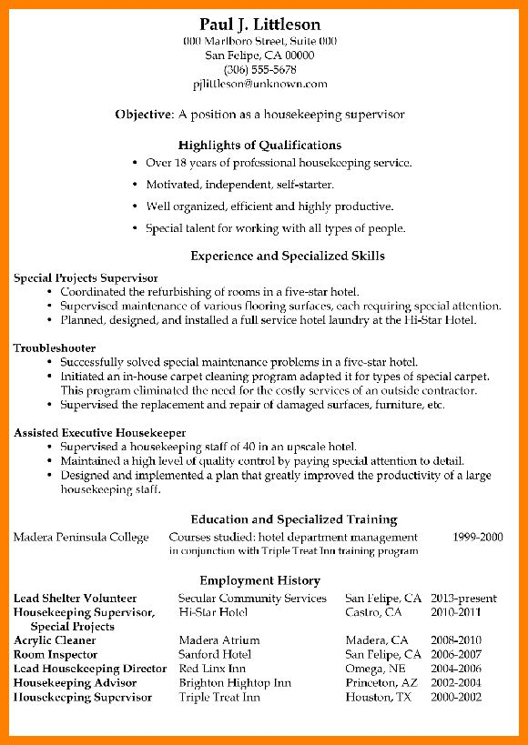 resume example housekeeping resume format. housekeeping supervisor ...