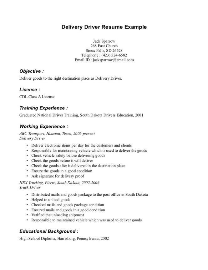 Sample Resume For Driver Delivery - Resume Sample