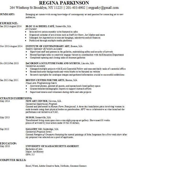 Art Curator - resume. Job Search @ ART JOBS 3013
