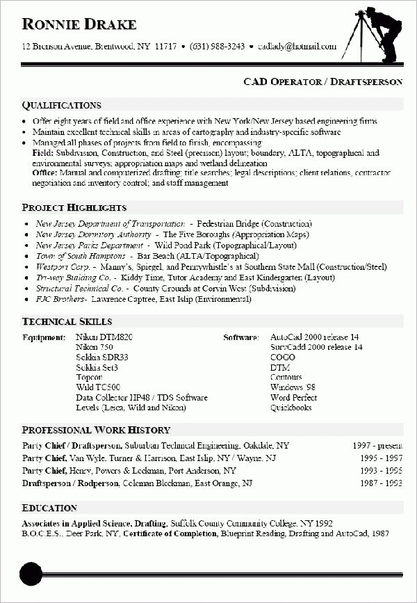 Drafting Resume] Professional Autocad Drafter Templates To
