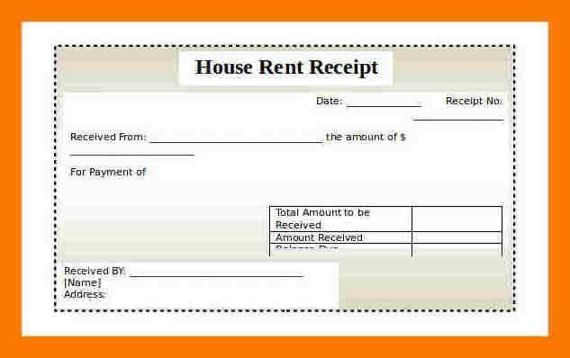 room rent bill format