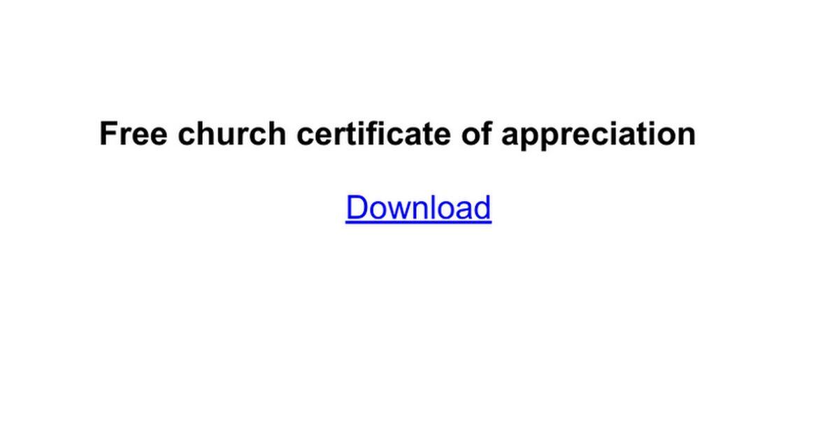 Free church certificate of appreciation - Google Docs