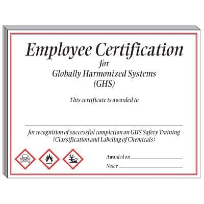 GHS Training Certificate - Employee Certification from Seton.com ...