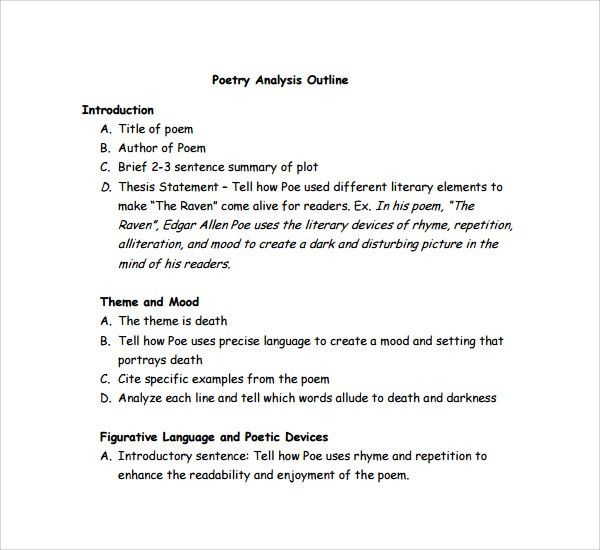 Analysis essay poetry
