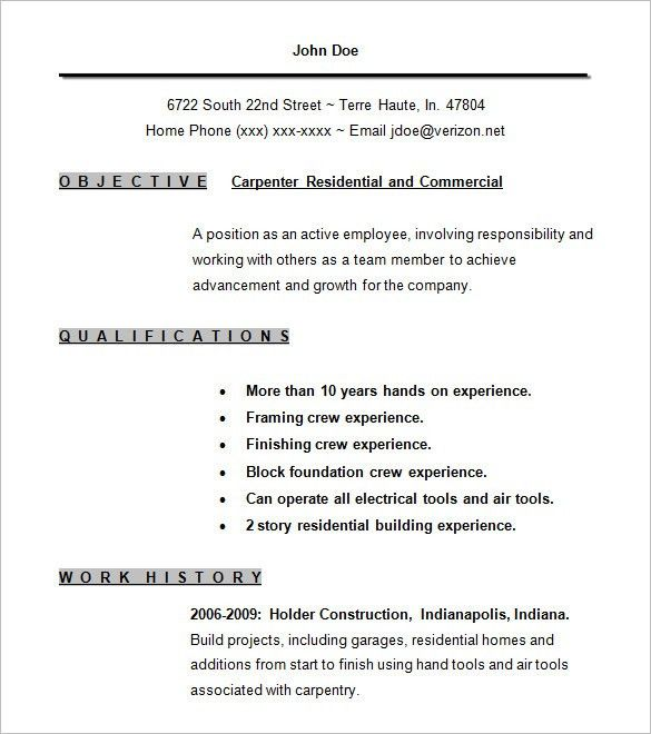 Carpenter Resume Template – 9+ Free Samples, Examples, Format ...