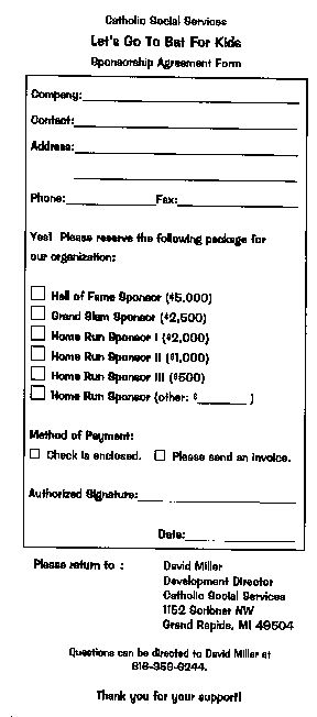 Sponsorship Form for a Charity Softball Game